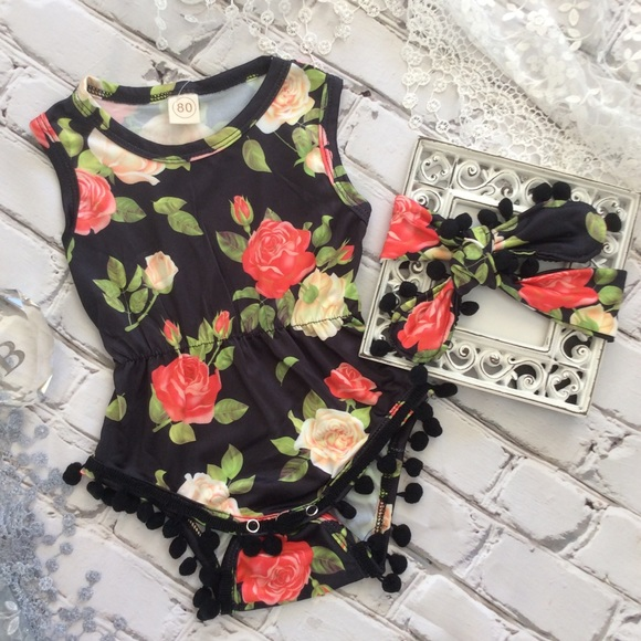 1a586a759 One Pieces | Boutique Baby Girl Rose Romper Headband | Poshmark